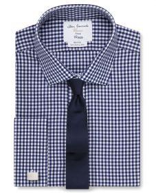 Мужская рубашка под запонки в клетку цвета морской волны  T.M.Lewin не мнущаяся Non Iron сильно приталенная Fitted (53844)