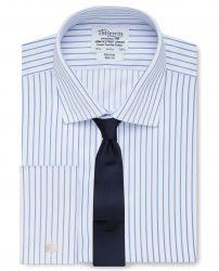 Мужская рубашка под запонки белая в синюю полоску T.M.Lewin не мнущаяся Non Iron приталенная Slim Fit (55196)