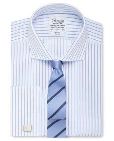 Мужская рубашка под запонки белая в синюю полоску T.M.Lewin не мнущаяся Non Iron приталенная Slim Fit (53871)