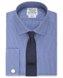 Мужская рубашка под запонки синяя с мелким белым узором T.M.Lewin не мнущаяся Non Iron приталенная Slim Fit (53782)
